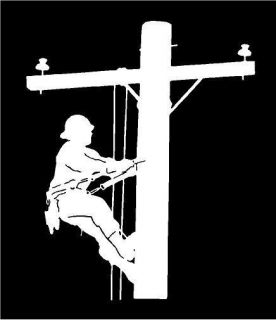 White Vinyl Decal Lineman Electric Pole Climber Fun Sticker Truck