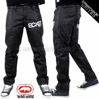 Ecko Unltd Wet Look Lambo Jeans Marc Coated Denim Relax Fit Hip Hop