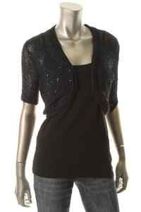 Ellen Tracy Navy Sequined Short Sleeve Open Front Cardigan Sweater S