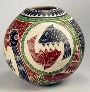 Mata Ortiz Pottery by Eduardo Olivas Quintana Etched Olla