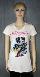 Ed Hardy T Shirt Lover Boy Off White Rhinestones Wolf