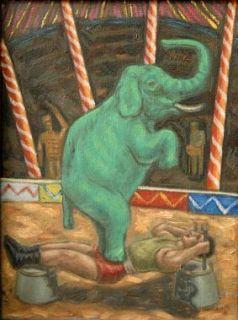 titled personaje con elefante domador y musico provenance galeria