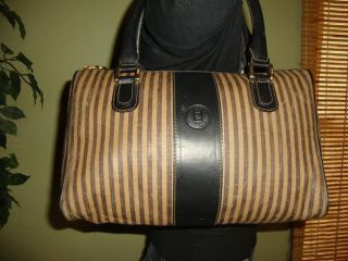 Black Brown Vintage Striped Leather FENDI Speedy Bag Purse Tote Dr