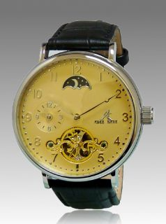 Adee Kaye Mens Automatic 22 Jewels Yellow Dial Leather Watch AK7117