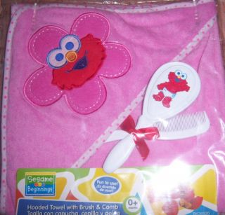 New Sesame Street Hooded Towel with Brush Comb Elmo Cookie Monster Big
