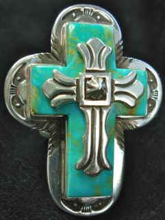 Style Navajo Sterling Silver Turquoise Cross Ring Mike Thompson