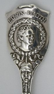Superb Actor Edwin Booth Sterling Spoon Hamlet C1893