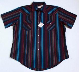 Ely Cattleman Western SS Black Aqua Stripe Pearl Snap Shirt Mens 2XL
