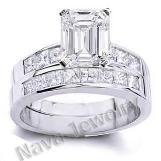 00 Ct Emerald Cut Diamond Bridal Set Ring