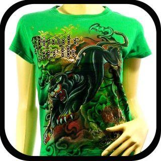 Minute Mirth Women T Shirt One Size WE8 Punk Vtg Tiger Tattoo Rock