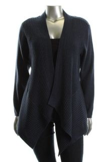 Eileen Fisher New Blue Wool Ribbed Open Front Shaped Cardigan Sweater