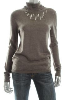 Ellen Tracy New Gray Jeweled Front Long Sleeves Pullover Turtleneck