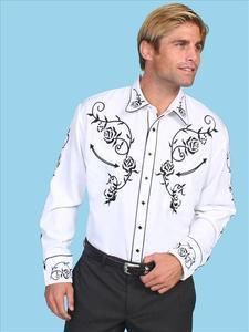 Scully Mens White Western Retro Shirt P 706 New
