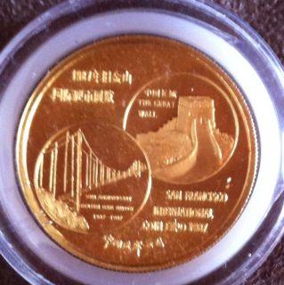 1987 1 oz Gold Panda San Francisco Coin Expo Box COA