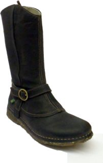 El Naturalista N982 Womens Ladies Black Leather Flat Boot