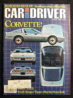Car and Driver Magazine March 1983 Corvette