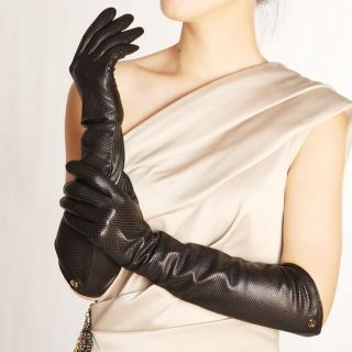 Black L ELMA Ladys eblow long nappa leather driving Gloves Gold Plated