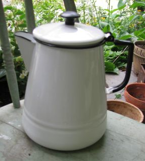 Vtg Shabby Cottage White Black Enamel Ware Camp Coffee Pot Garden