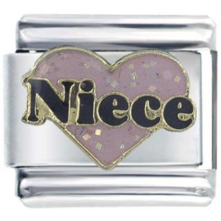 PUGSTER 9MM ITALIAN CHARMS GLITTER PINK NIECE HEART RED M31