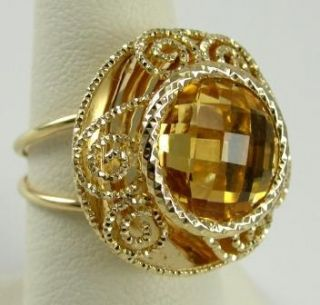 14k Yellow Gold Ring Citrine Fancy Cut Italy Milor 6