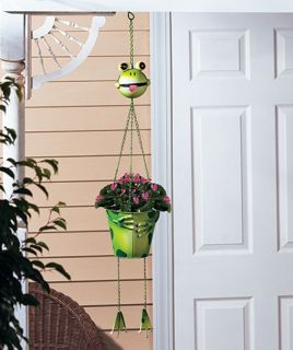 Indoor Outdoor Frog Hanging Planter Metal Flower Pot Garden Yard Art