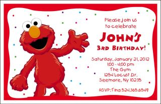 Set of 10 Elmo Sesame Street Personalized Birthday Invitations