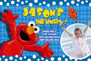 Elmo Sesame Street Birthday Party Invitation Photo 1st Custom Invites