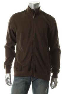 Tasso Elba New Brown Full Zipper Mock Neck Long Sleeve Sweatshirt Crew