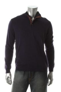 Tasso Elba New Purple Faux Suede Trim Snap 1 2 Zip Casual Mock Neck