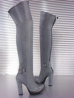 Mori Winter Overknee Plateau Boots Stiefel Heels Confort Italy Grey