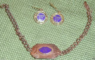 VINTAGE BRACELET EARRING SET ATLANTIC CITY NJ NEW JERSEY SHORE