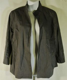 EILEEN FISHER GREY LINEN VISCOSE SPANDEX 3 4 SLV NO CLOSURE JACKET SZ