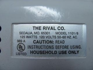 Rival Electric Food Slicer Motor Model 1101 8 Replacement