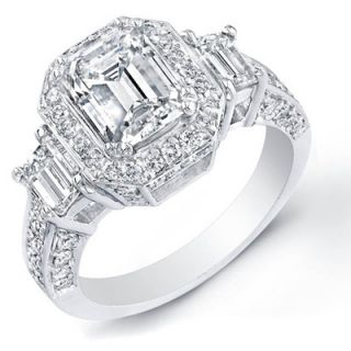 89 ct emerald cut diamond engagement ring gia