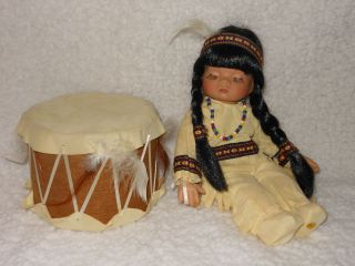 Emerald Doll Little Willie Native American Indian doll with drum