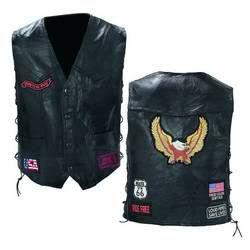 Mens Leather Motorcycle Biker Riding Vest Waist Coat w Patches M L XL