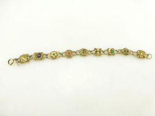 Vintage Signed Emmons Gold Tone Rhinestone Gemstone Charm Bracelet R