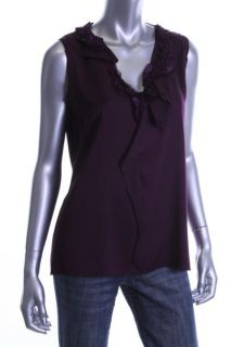 Elie Tahari New Sonja Purple Silk Ruffled Front Sleeveless Top Blouse