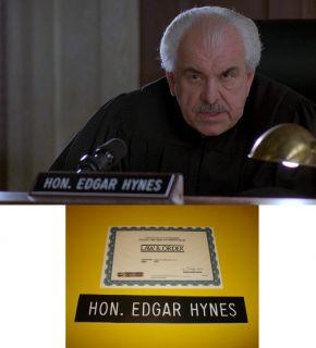LAW & ORDER Louis Zorich Judge Edgar Hynes SCREEN USED NAMEPLATE