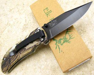 Elk Ridge Folding Clip Point Logo Black Blade Linerlock Pocket Knife