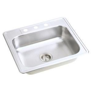 Mount Stainless Steel 25x22x7 4 Hole Single Bowl Kitchen Sink
