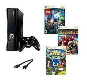 Xbox 360 4GB Console Bundle with 3 Games 6 Fthdmi Cable