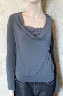 Ella Moss Gray Scoop Neck Shirt Top with Faux Lace Cami M Medium