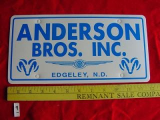 Anderson Bros Inc Dodge ND Car Dealer Plate Tag Emblem