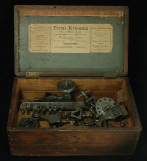 Ernst Kreissig Glashutte Antique Watchmakers Lathe in Wooden Box Neat