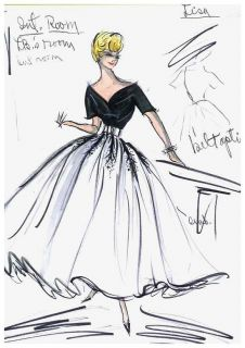 GRACE KELLY EDITH HEAD COSTUME SKETCH REAR WINDOW