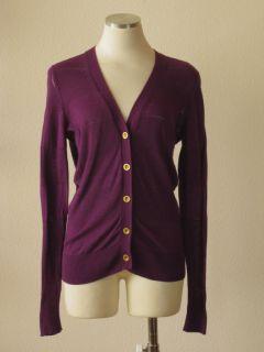 Madewell Wallace J Crew Purple Striped Gold Button Cardigan Sweater M