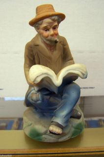 Ceramic Old Country Man 5 1 2 Tall Sitting Reading A Book China