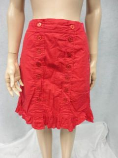 Edme & Esyllte Anthropologie Red Button Detail Ruffly Cotton Skirt M