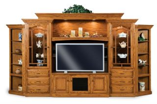 Amish TV Entertainment Center Solid Oak Wood Media Wall Unit Cabinet